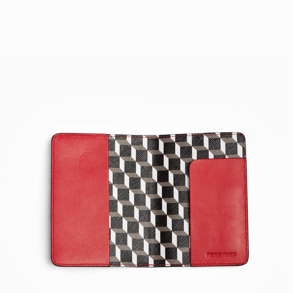 PERSPECTIVE CUBE PASSPORT HOLDER — RED