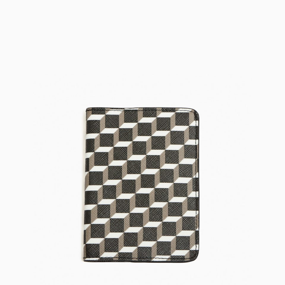 CUBE PERSPECTIVE PASSPORT HOLDER - GREY LINING