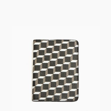 PERSPECTIVE CUBE PASSPORT HOLDER — BLACK