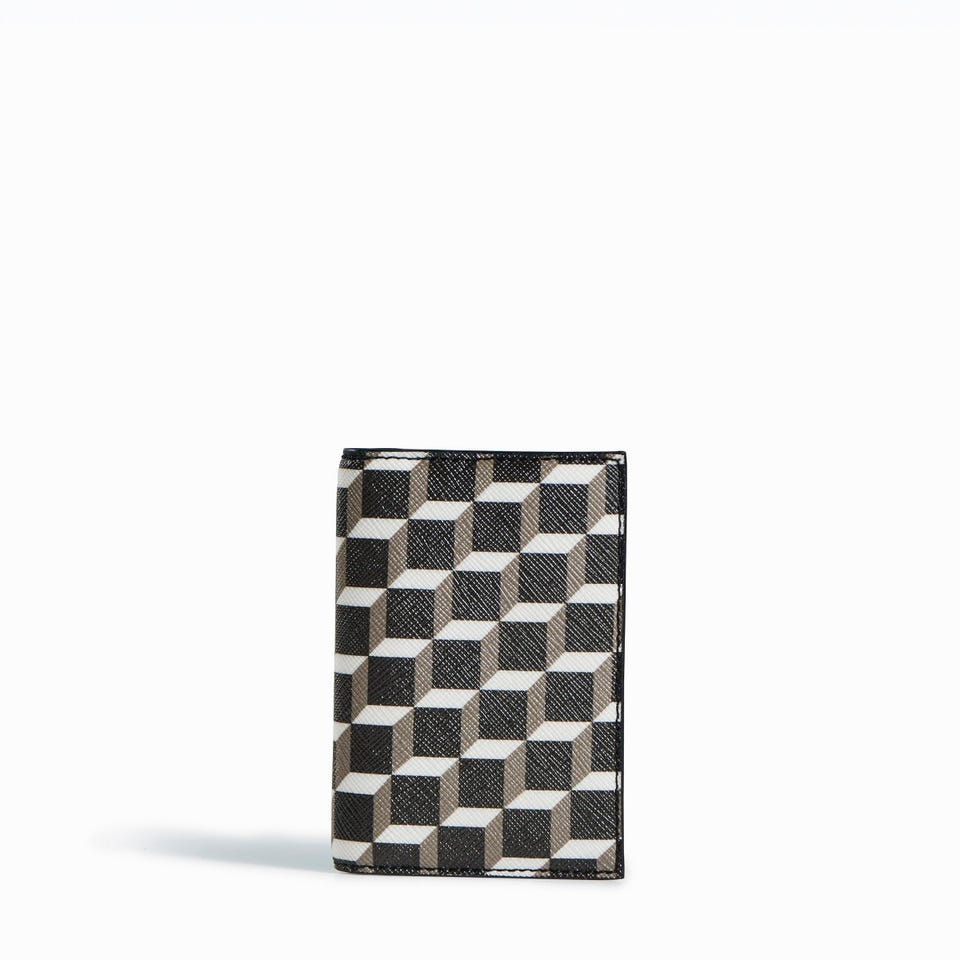 CUBE PERSPECTIVE CARD CASE WITH PATENT LEATHER INTERIOR
