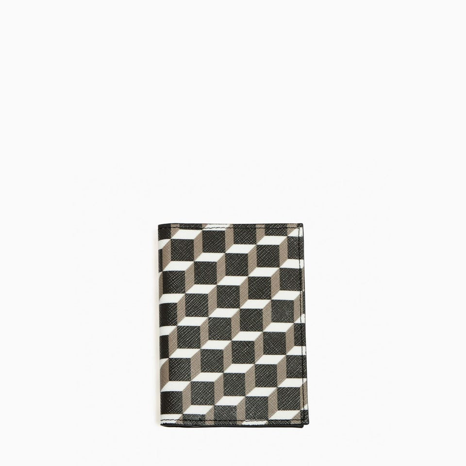 CUBE PERSPECTIVE CARD CASE — GREY LEATHER INTERIOR
