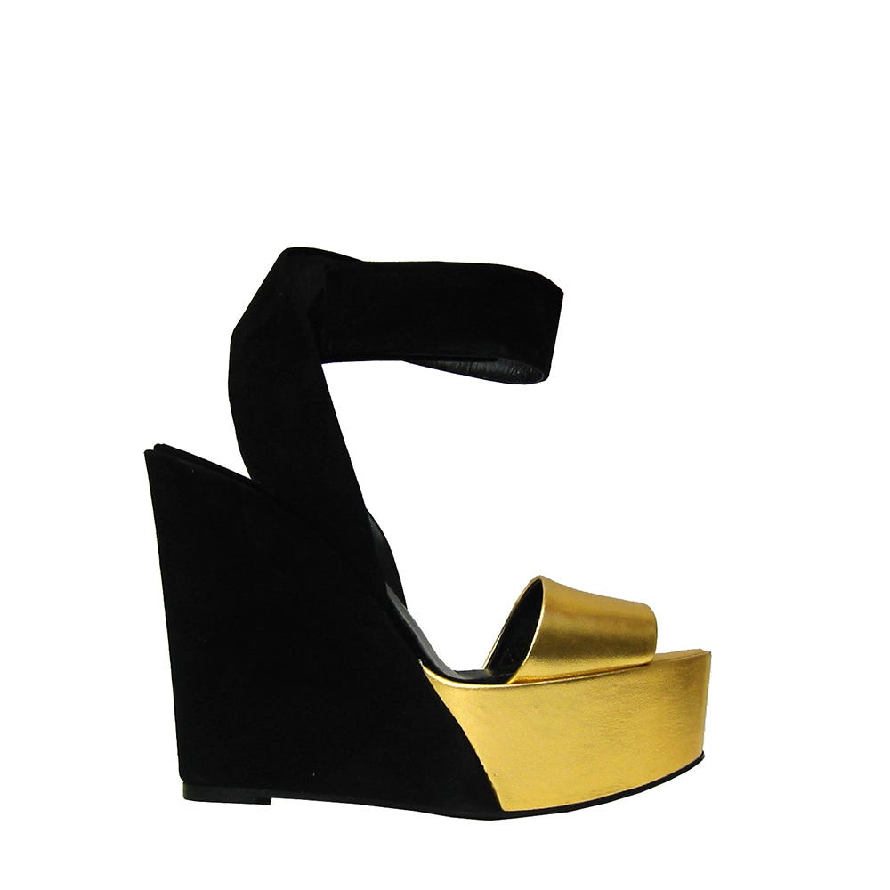 wedges gold and black pierre hardy